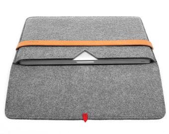 15''Macbook Case Laptop Case Laptop Sleeve Wool Felt Macbook Sleeve with Italian Leather Strap for Macbook Pro 15 Inch Macbook Case TopHome