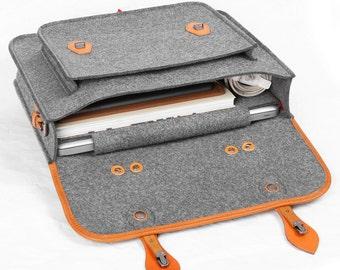 """Briefcase Macbook Satchel Wool Felt Backpack Shoulder Bag Messenger Bag Laptop Bag with Genuine Leather Handle for Macbook Pro 15"""" Retina"""