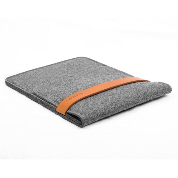 iPad Case iPad Sleeve Tablet Case Wool Felt Tablet Case with Italian Thick Leather Strap for iPad Air 1 2 Christmas Gift