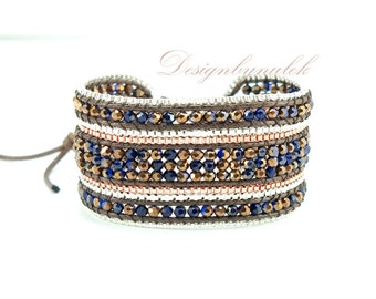 Dark blue and gold crystal box chain wrap bracelet.