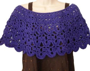 Crochet Capelet, Spring Poncho, Womens Shawl, Crochet Shawl, Womens Poncho, Purple Poncho, Purple Shawl, Shoulder Warmer, Purple Capelet