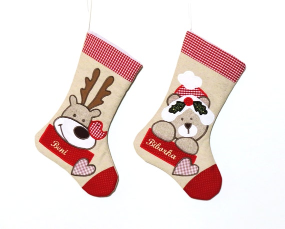 items similar to personalized christmas stockings for family  and dog stockings  red linen