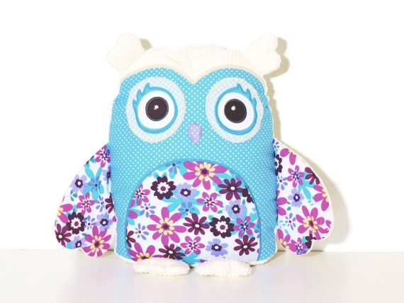 Personalized owl pillow, turquoise and purple owl for baby girls, gift under 50 by,  READY TO SHIP