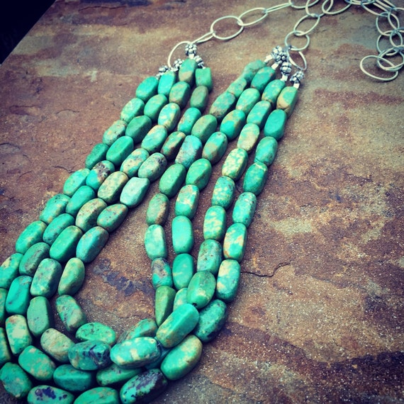 4 Strands of Genuine Apple Green Turquoise on Sterling Silver Links Statement Necklace and Earrings Set