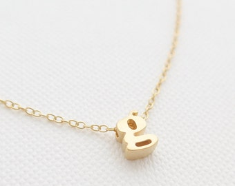 Tiny Gold Initial Necklace - tiny letter necklace - delicate gold necklace - delicate gold jewelry - Christmas gift for her // Lower Case