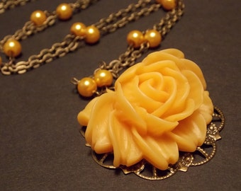Yellow and Bronze Victorian Rose Statement Necklace