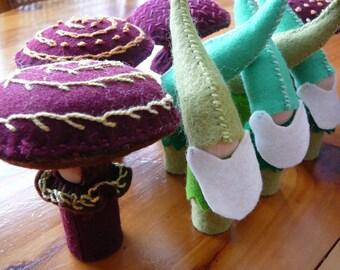 Felt Mushroom and Gnome, Waldorf Inspired, Peg Dolls, Nature Table dolls