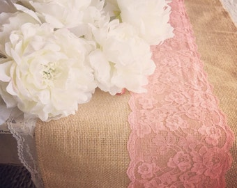 Burlap Runners, Coral Lace, Coral Table Runners, Beach Wedding,