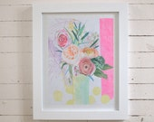 Lemon Dot Bouquet-- original art in frame