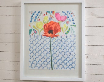 Swedish Poppy-- original art in frame