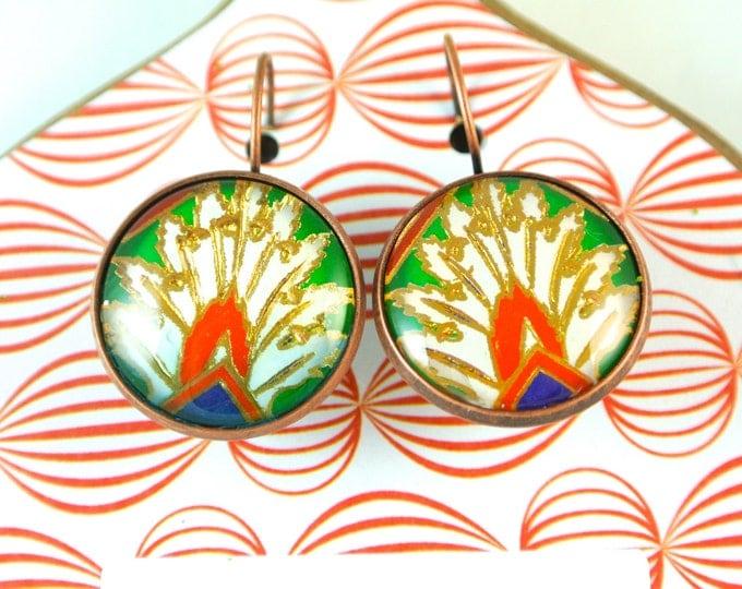 Turkish Art Earrings: Handmade Christmas Day Gift - Turkey Istanbul Grand Bazaar Iznik - Jewelry Flowers Artwork - Green Gold Red