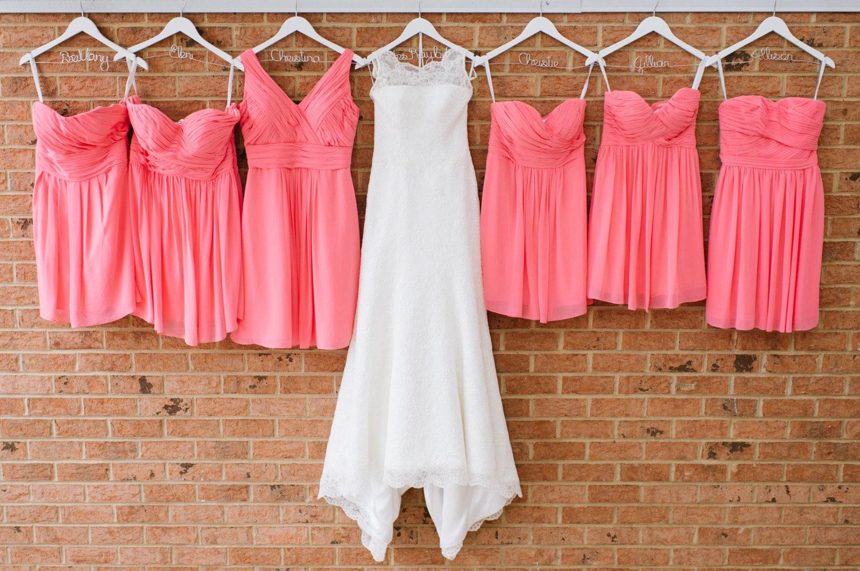 SALE SET Of 7 Wedding Dress Hangers Six Bridesmaid Hangers