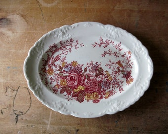 Vintage Red Floral Platter, Taylor Smith and Taylor