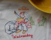 Reserved Listing Day of the Week Embroidered Dish towel. Wednesday Dish towel. Man at work dish towel
