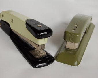 Vintage Cub staplers Vintage olive green stapler   Vintage home office Vintage Swingline