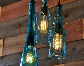 Recycled Bottle Chandelier - The Harmony 3-Light Teal