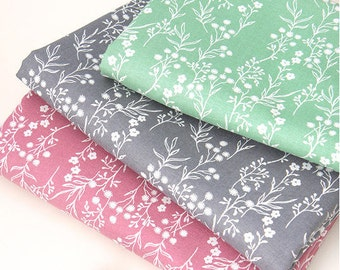 Flowers and Stalks Cotton Fabric in Mint or Pink - By the Yard 64095