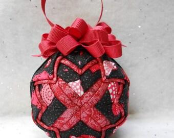 Valentine print on black Quilted Ornament - No-sew ornament - Home decor, Valentine's Day