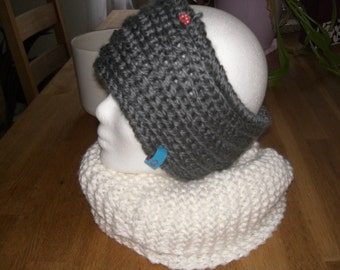Headband, thick wool, hand-knitted