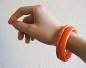 Vintage Bakelite Orange Bangle Bracelets-Set of 2