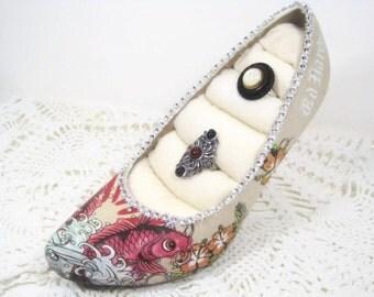 Koi Fish High Heel Shoe Decorative Ring Holder - Craft Show Display - Stud Earring Display - Recycled Designer Shoe