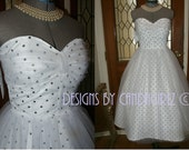 CLEARANCE SAMPLE 1950s Ins White & Black small polka dot Sweetheart rouched Tulle full skirt Bridal wedding Evening dress Sample S/4