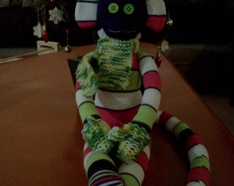 Winsome and wintry sock monkey