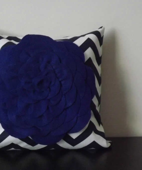 Decorative Throw Pillow Cover Cobalt Blue Chrysanthemum