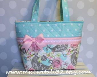 Pink / Aqua / Birds Purse / Tote / Diaper Bag