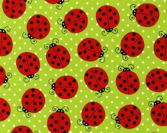 Picnic Party Ladybugs in Leaf Green, Pink Light Design, Robert Kaufman Fabric - AMF-12977-43