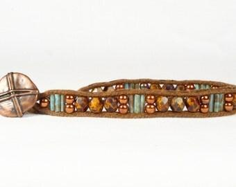 Women's beaded bracelet, Copper aqua beads, Single wrap bracelet, CarolMade Sw39