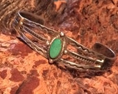 Old Native American Fred Harvey Style Sterling Silver & Turquoise Cuff Bracelet