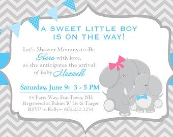 elephant baby shower invitation boy invitation elephant baby shower invitations printable invitation printable baby shower invites