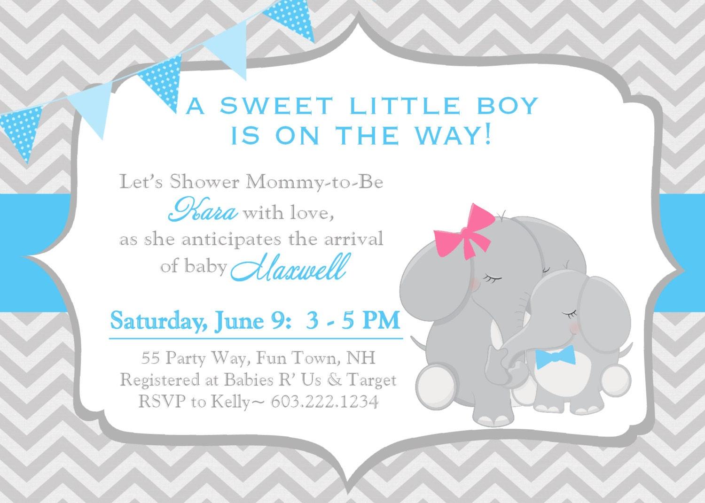 Baby Elephant Baby Shower Invitations ~ Elephant baby shower invitation boy