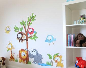 Large Jungle Animals kids Nursery Wall Sticker Decal. Unique bespoke design for children. Unique design by Vinyl Impression.