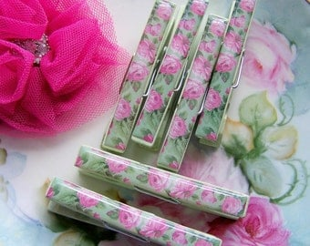 Green Rose Clothespins, Shabby Chic, Clothespins Set, Pink Rose Clothespin Set, Clothespins, Romantic Supplies, Romantic Home, Pink Roses