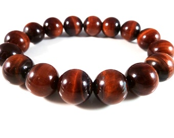 Red Tiger's Eye Stretch Bracelet Smooth Round 12mm High Quality Beads