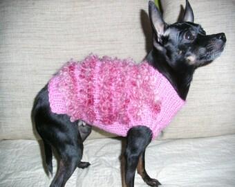 Hand knit Dog Sweater-Dog Coat-Dog Costume-Dog Clothes-Dog fashion- Pink Dog Sweater-Size XXS/XS/S