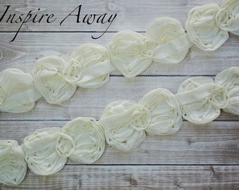 "Ivory Mini Bow Trim - 1 YARD-Wholesale Discounts - Mini 2.5"" chiffon bow trim -Supplies, DIY headband supply, DIY hair bow"