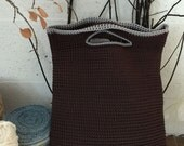 Hand knitted bag/purse: Dark brown with gray trim