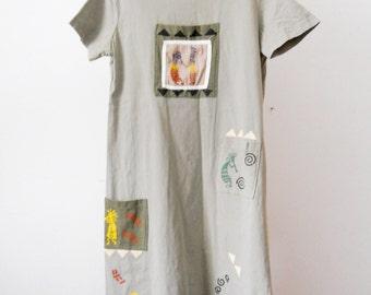 Vintage Vinezzi Clothing Tribal Print Full Length Dress Short Sleeves light Green Size M