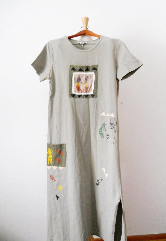 vintage vinezzi clothing tribal print length dress
