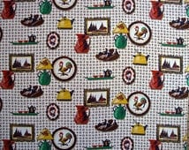 Vintage Brown and White Kitschy Kitchen Prints 4 1/3 yd x 36 inch wide