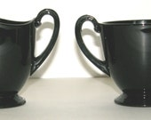 "Fostoria # 2350 1/2 ""Pioneer"" footed creamer & open sugar in Ebony glass - FREE SHIPPING"
