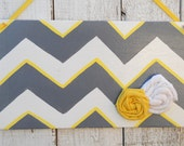 Personalized Chevron door sign/ nursery, Teacher, room, cloth rosettes, yellow and grey