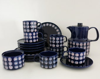 Vintage Melitta Germany Coffee Set - Cobalt Blue with Pink Polka Dots -  Coffee Pot, 6 Cups, 5 Saucers, 4 Small Plates & Open Sugar