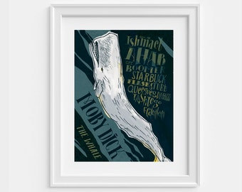Art print, Moby Dick by Herman Melville, hand lettering (12,60 x 18,10)