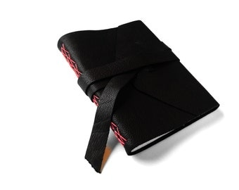 Black Lined Leather Journal with Double Wrap Tie, Leather Notebook, Travel Journal