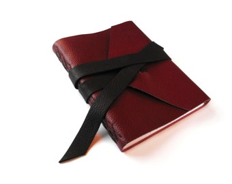 Large Red Leather Journal with Black Double Wrap Tie, Blank Book, Art Journal, Drawing Book