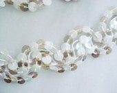 Vintage Gold and White Sequins - Sequins Trim By The Yard -  3 Yards White Iridescent Sequins - 3 for 1 Vintage Sequins Trim - 5 Dollar Deal